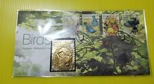 Royal Selangor Singapore Gold Gilded Silver Stamp FDC 2002 Tropical Birds Type B