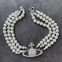 Authentic Vivienne Westwood Pearl Choker Necklace Silver Color