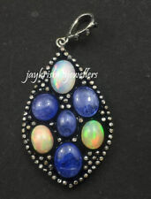 Natural Tanzanite And Opal Gems Sterling Silver Diamond Antique Floral Pendant