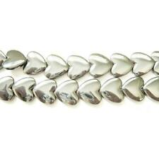 Strand 45 Bright Silver Hematite (non Magnetic) 8mm Puffy Heart Beads Gs15393-2