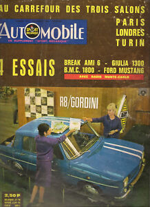 L'AUTOMOBILE 223 1964 TOUR AUTO AUSTIN 1800 CITROEN AMI 6 BREAK FORD MUSTANG TDF