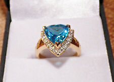 2.92ct Swiss Blue Topaz Gold Ring  - flash sale