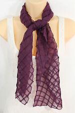 Fancy Long Purple Neck Scarf Soft Fabric Tie Wrap Geometric Mosaic Plaid