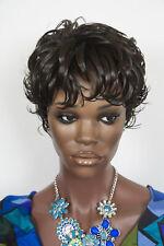 Dark Brown Brunette Short Wavy Wigs