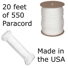 20 Feet of 550 Paracord Type III Nylon Parachute Cord Utility Cord White