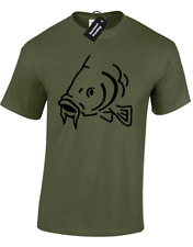 SILHOUETTE OF CARP MENS UNISEX T-SHIRT FISHING FISHERMAN ANGLING CLOTHING CAMO