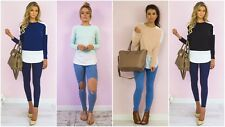 Womens Ladies Contrast Shirt Tail Curved Hem Long Sleeve Plain Casual Top Tshirt