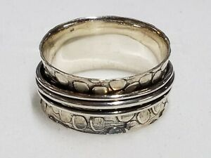 """Size 7, Artisan Crafted, .925 Sterling Silver """"Triple Spinner"""" Ring 4.7 g"""