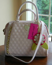 NWT Betsey Johnson Quilted Heart Swag Pinch Triple Entry Satchel Blush Pink