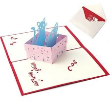 Invitation Birthday Gift Box Cat  UP 3D Greeting Card