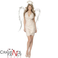 Adult Ladies Angel Costume and Wings Christmas Fairy Fancy Dress Outfit New