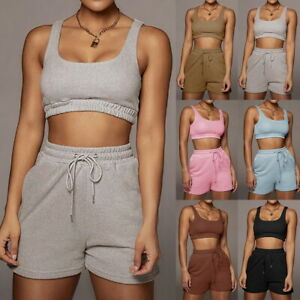 Womens Summer Two Piece Tracksuit Set Crop Top Cami Shorts Sports Fitness Tops