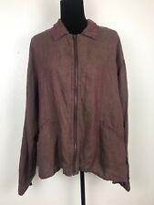 FLAX by JEANNE ENGELHART Jacket Blazer Zip Up Plum Linen  Women's Size M