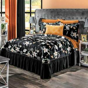 Margor black with yellow floral bedspread set by Intima Hogar