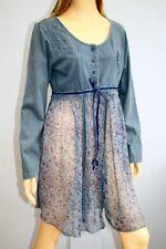 Joe Browns Blue Cotton & Chiffon Long Sleeve Button Front Top Size 14