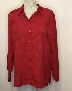Otto Heinze Germany Red Blouse EU 40 UK 14 Cupro Silk Feel Shoulder Pads