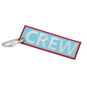 Crew Embroidery Keychain with Carabiner for Motorcycle Car Outdoor Keyring Tag