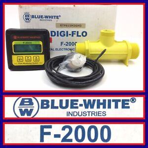Blue White F-2000 Paddlewheel Digital Flow Meter Digi-Flow, Molded In-line Body