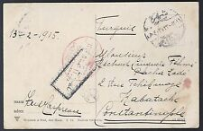TURKEY NETHERLANDS 1916 WWI POST CARD IJZENDIJKE TO GALATA VIA ISTANBUL RED OVAL