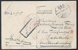 TURKEY NETHERLANDS 1916 WWI POST CARD IJZENDIJKE TO GALATA VIA ISTANBUL RED OVAL