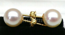 Geunine AAA 9.5mm round white south sea pearl earring 14k