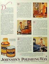 Johnson's Polishing Wax ad original Antique 1928 Vintage advertisement