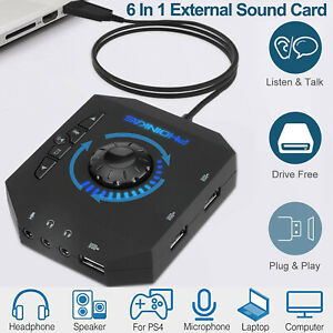 6in1 External USB Sound Card 7.1 Channel Audio Adapter Converter for PS4 Laptop