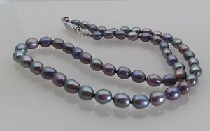 """Quality Freshwater Rice Pearl Graduated Hand Knotted Necklace 17"""" Smokey Blue"""