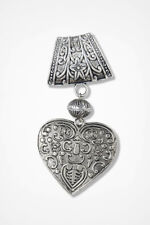 Heart Filigree Scarf Pendant Coldwater Creek Metal Slide for Scarves NEW