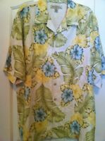 tommy bahama shirt silk mens size L short sleeve floral