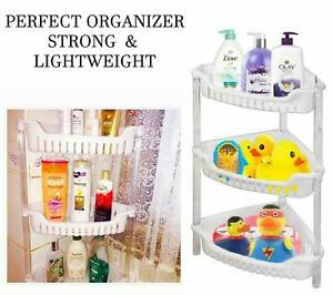 3 Tier Durable Plastic Shower Caddy Corner Shelf Bathroom Organizer Storage Rack