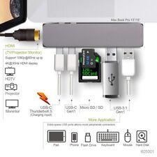 [Multi-Port] Dual USB-C Hub Adapter USB 3.0 / SD /Thunderbolt 3 For MacBook Pro