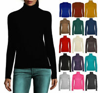 Women ladies Long Sleeve Polo Neck, Turtle Neck Top T shirt 8-26