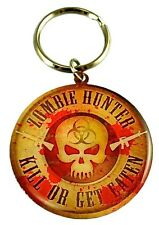Zombie Hunter Metal Round Key Chain 2 Inch With Kill Or Get Eaten Logo