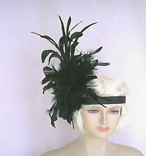 Vegas 1920s Flapper Follies Black  Feather Headband Headpiece Handmade in USA