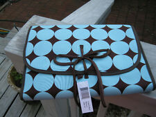 Blue and Brown Polka Dot Roll upTravel Lingerie Bag Great for Bridesmaids Gifts