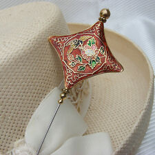 Hatpin Gold Cloisonne With Bird And Flowers Red Brown Enamel