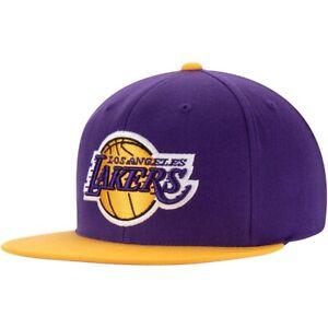 Los Angeles Lakers LA Mitchell & Ness NBA Snapback Hat 2Tone Adjustable Cap Flat