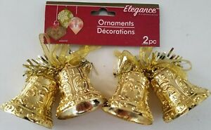 Christmas Ornaments Double Gold Bells 2 Ct/Pk  SELECT: Glitter or Gloss