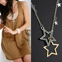Womens Lovely Silver Gold Crystal Rhinestone Stars Pendant Long Chain Necklace F