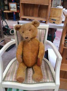 "Antique Teddy. Vintage Teddy Bear. 25"" Tall. Straw Filled, Jointed Teddy. V100."