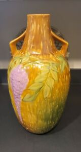 """ROSEVILLE POTTERY WISTERIA Vase TWO HANDLES Large 15.5"""" Tall Lavender"""