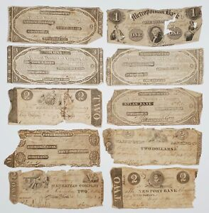 10) Early 1830s-40s Obsolete State Banknotes $2-$5 NJ RI ME MA NY DC Perkins Pat