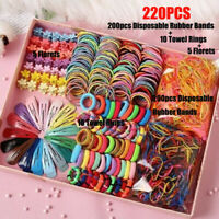 220Pcs Candy Color Girls Hair Clips Rope Ponytail Holder Kids Hair Accessories