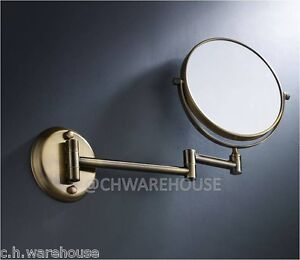 """BRASS 8"""" MAGNIFYING MIRROR, BATH, MAKEUP, WALL MOUNTED, SWING ARM, 7X, 2-SIDED"""