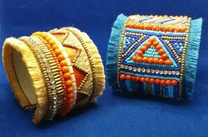 NATIVE STYLE ETHNIC BEADED HANDCRAFTED MULTI-COLOR CUFF FASHION BRACELET