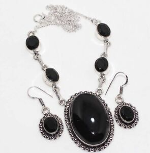 Black Onyx 925 Sterling Silver Plated Necklace Earrings Set Jewelry GW