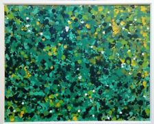 Original framed painting acrylic abstract green art by Nicola Adshead on canvas