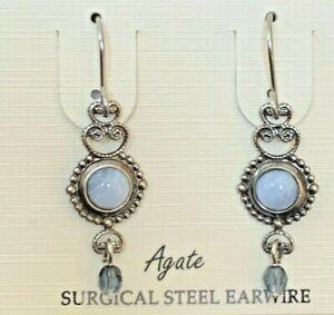 SILVER FOREST BLUE AGATE SURGICAL STEEL EAR WIRE DROP DANGLE EARRINGS