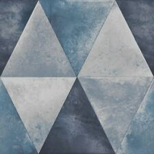 Caden Metalique Géométrique Papier Peint Bleu - Muriva 152503